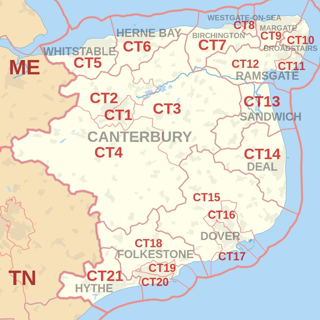Canterbury postcode area map